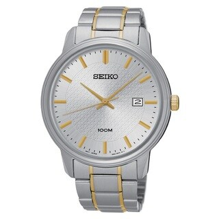 Seiko Men's SUR197 Stainless Steel Silver Tone Dial with a Date Window at 3:00 O'clock Watch