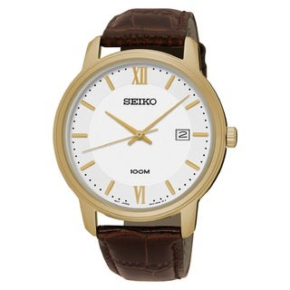 Seiko Men's SUR202 Stainless Steel Gold Tone with a Whiter Dial and a Date Window at 3:00 O'clock Watch