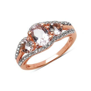 Olivia Leone 1.40 Carat Morganite And White Topaz .925 Sterling Silver Ring