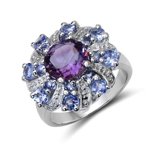 Malaika 2.88 Carat Genuine Amethyst and Tanzanite .925 Sterling Silver Ring