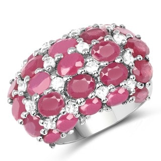 Malaika 10.34 Carat Genuine Glass Filled Ruby and White Topaz .925 Sterling Silver Ring