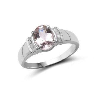 Malaika 1.29 Carat Genuine Morganite and White Diamond .925 Sterling Silver Ring