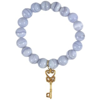 Rebecca Cherry Terra Charmed Blue Lace Agate Beaded Bracelet With Ornate Key Charm