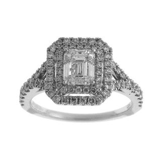 Azaro 14k White Gold 1 4/5ct TDW Diamond Emerald-cut Double Halo Engagement Ring (H-I, SI1-SI2)