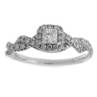 Azaro 14k White Gold 3/5ct TDW Diamond Princess-cut Halo Engagement Ring (G-H, SI2-I1)