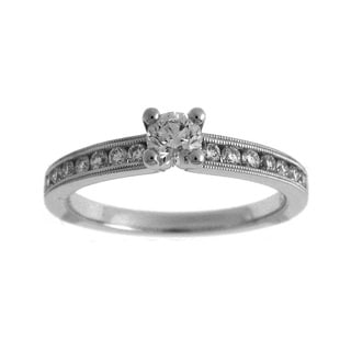 Azaro 14k White Gold 1/2ct TDW Diamond Round Engagement Ring