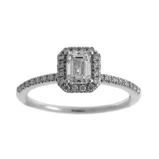 Azaro 14k White Gold 3/4ct TDW Diamond Emerald Cut Halo Engagement Ring (G-H, SI2-I1)