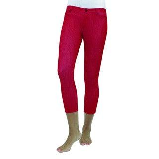 Memoi Women's Zipper Capri Leggings