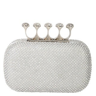 Rimen & Co. Rhinestone Crystal Ring Knuckle Wedding Clutch