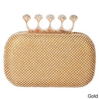 Rimen & Co. Rhinestone Crystal Ring Knuckle Wedding Clutch (Option: Gold)