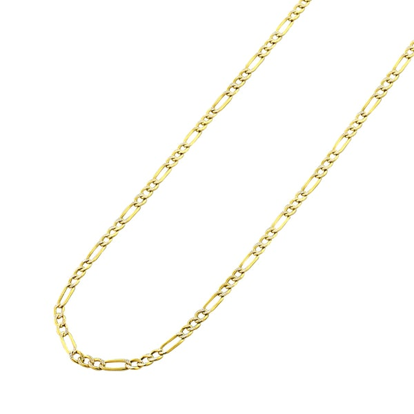 3d6abf2634e1 14k Yellow Gold 2mm Hollow Figaro Link Diamond Cut Two-Tone Pave Necklace  Chain 16