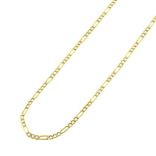 14k Two-tone Gold Hollow Figaro Diamond-cut Pave Chain Necklace