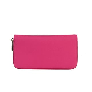 Diophy Saffiano Faux Leather Zip Around Wallet