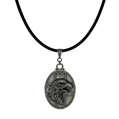 Handmade Jewelry by Dawn Unisex Pewter Eagle Head Leather Cord Necklace (USA) - Black