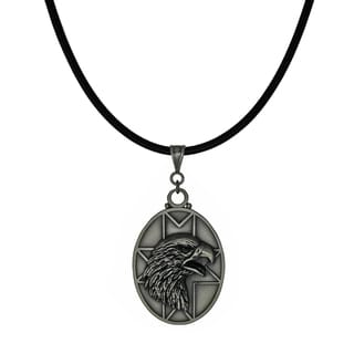 Jewelry by Dawn Unisex Pewter Eagle Head Greek Leather Cord Necklace - Grey