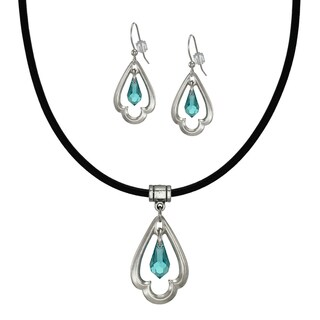 Jewelry by Dawn Turquoise Crystal Scalloped Teardrop Greek Leather Necklace And Earring Set