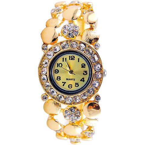 Goldtone Women's Bangle Watch with Crystal Accents, and Easy Read Dial