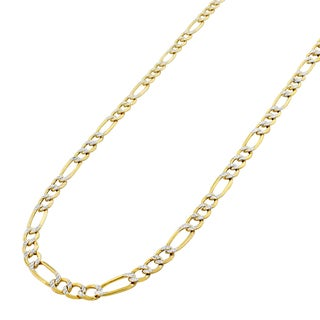 14k Yellow Gold Hollow Figaro Pave Polished Chain Necklace