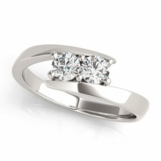 Auriya 14k White Gold 1ct TDW Round-Cut Diamond 2-Stone Ring