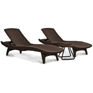 Clay Alder Home Black Hawk 3-piece All-Weather Adjustable Patio Sun Loungers and Table