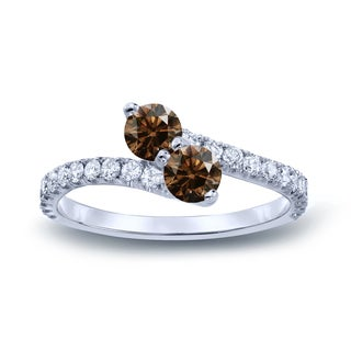 Auriya 14k Gold 1/2ct TDW Round-Cut Brown Diamond 3Prong 2-Stone Ring (Brown, I1-I2)