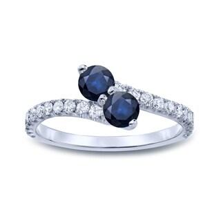Auriya 14k Gold 1/4ct Blue Sapphire and 1/4ct TDW Diamond 3Prong 2-Stone Ring (H-I, I1-I2)