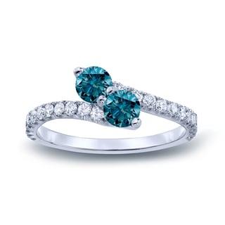 Auriya 14k Gold 3/4ct TDW Round-cut Blue Diamond 3-prong, 2-stone Engagement Ring (Blue, I1-I2)