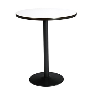 36-inch Round Bistro Height Pedestal Table with Round Black Base