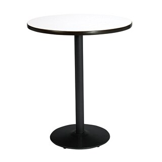 42-inch Round Bistro Height Pedestal Table with Round Black Base