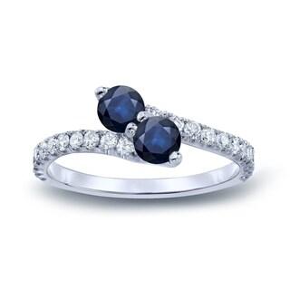 Auriya 14k Gold 1/2ct Sapphire and 1/4ct 2-stone Diamond Engagement Ring