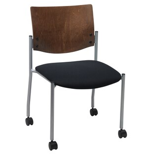 KFI Evolve Guest Chair Armless with a Chocolate Wood Back and Casters