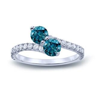 Auriya 14k Gold 2ct TDW Round-cut Blue Diamond 3-prong, 2-stone Engagement Ring (Blue, I1-I2)