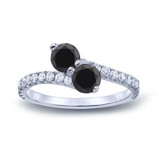 Auriya 14k Gold 2ct TDW Round-cut Black Diamond 3-prong, 2-stone Engagement Ring (Black, I1-I2)