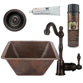 Premier Copper Products BSP4_BS17DB-D Bar/ Prep Sink, Faucet and Accessories Package