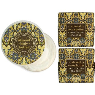 Almond and Cocoa Butter Exfoliating Botanical Bath Soaps with Matching Body Butter Set