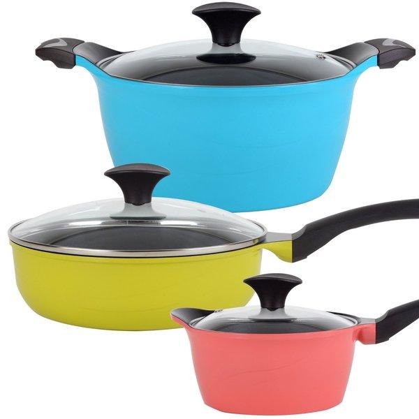 Cook N Home 6-Piece Nonstick Ceramic Coating Die Cast Cookware Set, Multicolor