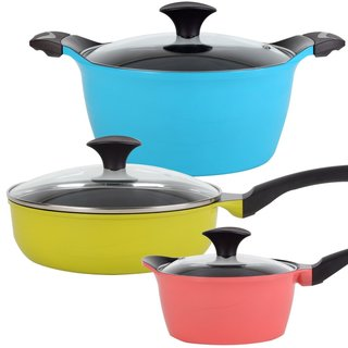 Cook N Home 6-Piece Nonstick Ceramic Coating Die Cast Cookware Set, Multicolor
