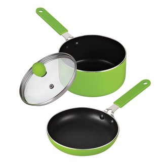 Cook N Home Green 5.5-inch Nonstick Mini Size Fry Pan and Sauce Pan with Lid Set