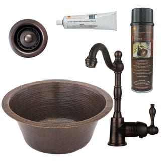 Premier Copper Products BSP4_BR16DB2-B Bar/ Prep Sink, Faucet and Accessories Package