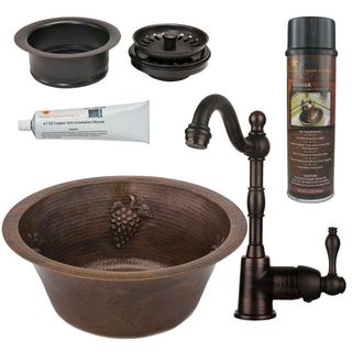 Premier Copper Products BSP4_BR16GDB3-G Bar/ Prep Sink, Faucet and Accessories Package