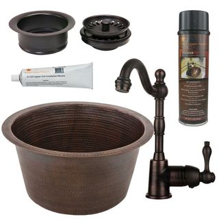 Premier Copper Products BSP4_BR17DB-G Bar/ Prep Sink, Faucet and Accessories Package
