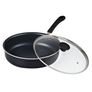 Cook N Home 11-Inch Nonstick Deep Sauté Fry Pan/Jumbo Cooker with Lid, Black