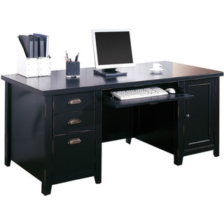 Tansley Landing Black Double Pedestal Computer Desk