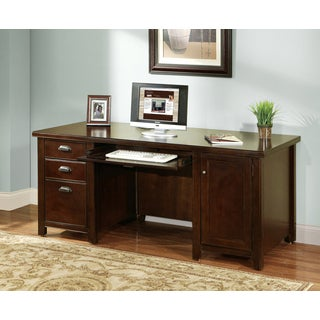Tansley Landing Cherry Double Pedestal Computer Desk