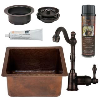 Premier Copper Products BSP4_BREC16DB-G Bar/ Prep Sink, Faucet and Accessories Package