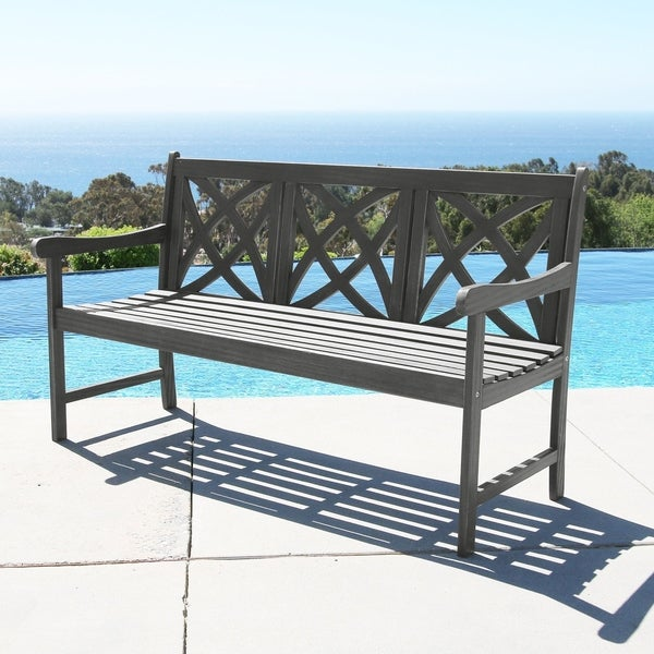 Surfside 5-foot Outdoor Hand-scraped Hardwood Garden Bench by Havenside Home. Opens flyout.