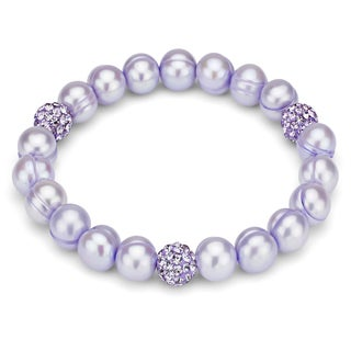DaVonna Purple Freshwater Pearl and Cubic Zirconia Balls Stretch Bracelet (8-9 mm)