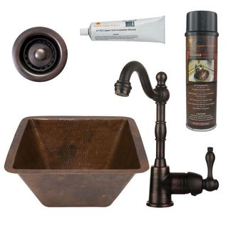 Premier Copper Products BSP4_BS15DB2-B Bar/ Prep Sink, Faucet and Accessories Package