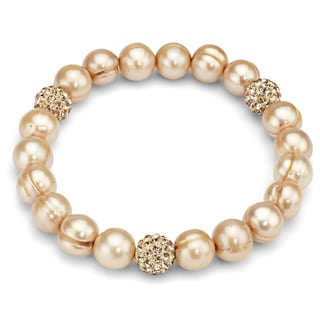 DaVonna Gold Freshwater Pearl and Cubic Zirconia Balls Stretch Bracelet (8-9 mm)