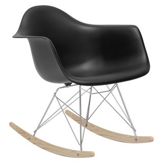 Poly and Bark Rocker Lounge Chair in Black